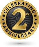 Fira den guld- etiketten för 2nd årsdag, vektor Royaltyfria Bilder