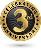 Fira den guld- etiketten för 3rd årsdag, vektor Royaltyfri Foto