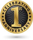 Fira den guld- etiketten för 1st årsdag, vektor Fotografering för Bildbyråer