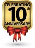 Fira den guld- etiketten för 10th årsårsdag, vektor vektor illustrationer
