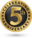 Fira den guld- etiketten för 5th årsdag, vektor Royaltyfria Foton