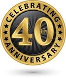 Fira den guld- etiketten för 40th årsdag, vektor Arkivbild