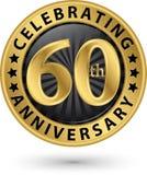 Fira den guld- etiketten för 60th årsdag, vektor Arkivbild
