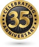 Fira den guld- etiketten för 35th årsdag, vektor Arkivfoto