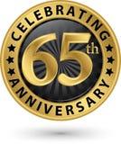 Fira den guld- etiketten för 65th årsdag, vektor Royaltyfria Foton