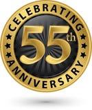 Fira den guld- etiketten för 55th årsdag, vektor Royaltyfri Bild