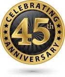 Fira den guld- etiketten för 45th årsdag, vektor Fotografering för Bildbyråer