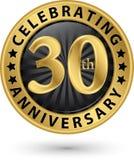 Fira den guld- etiketten för 30th årsdag, vektor Arkivfoton