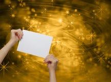 Fira det guld- meddelandekortet Royaltyfria Foton