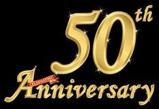 Fira det guld- tecknet för 50th årsdag, vektorillustration stock illustrationer