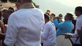 Fira ett bröllop på ett stort skepp i Montenegro, September 3, 2016 arkivfilmer
