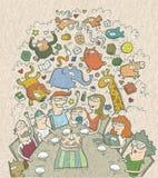 Fira födelsedag: hand dragen illustration av en familj omkring Arkivfoto