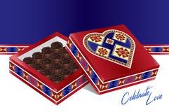 Fira förälskelse - en älskvärd traditionell fyllda Wi för designhjärta ask royaltyfri illustrationer