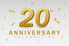 Fira för årsdag av 20 år 20th årsdagbaner med guld- konfetti- och för guld 3d nummer Arkivbilder