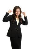 fira framgångskvinna för affär arkivbild
