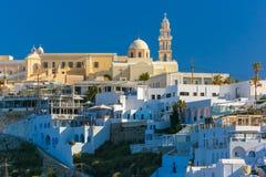 Fira, główny miasteczko Santorini w ranku, Grecja Obraz Stock