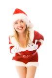 fira gladlynt julflicka Arkivfoto