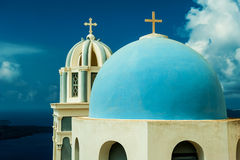FIRA, GREECE-SEPTEMBER, 02,2014: Ansicht des Kessels in Fira, Santorini Lizenzfreie Stockbilder