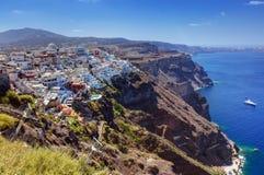 Fira, het kapitaal van Santorini-eiland, Griekenland Traditionele architectuur Stock Foto's