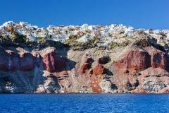 Fira huvudstaden av den Santorini ön, Grekland Arkivfoton