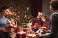 Fira jul för familj royaltyfria foton