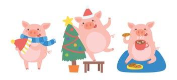Fira jul med det gulliga svinet i olika lägen royaltyfri illustrationer