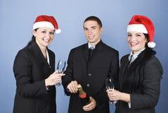 fira julfolk för affär Arkivfoton
