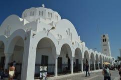Fira kościół Z Swój Ładnymi łukami Na wyspie Santorini Podróż, rejsy, architektura, krajobrazy obraz stock