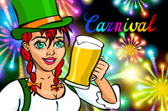 Fira kvinnan Feriefolk Härlig flicka med hållande exponeringsglas för feriemakeup av Champagne Lyckligt och skratta karnevallett Fotografering för Bildbyråer