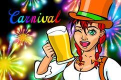 Fira kvinnan Feriefolk Härlig flicka med hållande exponeringsglas för feriemakeup av Champagne Lyckligt och skratta karnevallett Arkivfoton