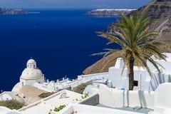 Fira luxury decks and patios. Luxury decks and patios of Fira, Santorini, Greece Stock Image