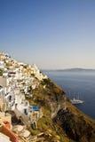 Fira Main Town, Santorini, Greece. Beautiful cliff-top view of Fira, the main town on the island of Santorini, Cyclades, Greece Stock Photo