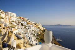 Fira Main Town, Santorini, Greece. Beautiful cliff-top view of Fira, the main town on the island of Santorini, Cyclades, Greece Stock Photography