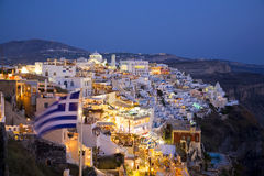 Fira main town, Santorini, Greece. Fira main town at night, Santorini, Cyclades, Greece Stock Image