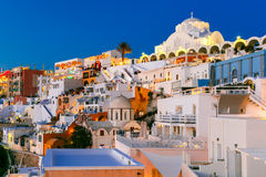Fira, main town of Santorini at night, Greece Stock Photography