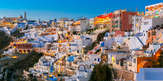 Fira, main town of Santorini at night, Greece Royalty Free Stock Photography