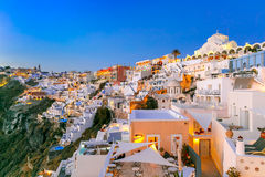 Fira, main town of Santorini at night, Greece Stock Image