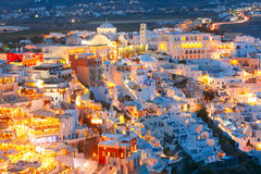 Fira, main town of Santorini at night, Greece Royalty Free Stock Photos
