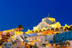 Fira, main town of Santorini at night, Greece Stock Images