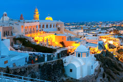 Fira, main town of Santorini at night, Greece Royalty Free Stock Image