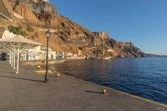 Fira marina with boats at sunset. Santorini, Greece. Europe Royalty Free Stock Photos