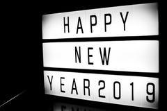 Fira meddelandet 2019 för det lyckliga nya året Royaltyfri Fotografi