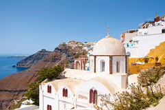 Fira Orthodox church on the edge of cliff on the Thera (Santorini), Greece. Royalty Free Stock Photo