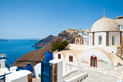 Fira Orthodox church on the island of Thera (Santorini), Greece. Stock Photography