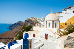 Fira Orthodox church on the island of Thera (Santorini), Greece. Stock Images