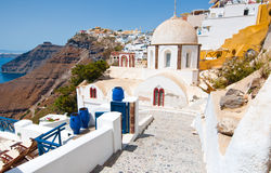 Fira Orthodox church on Thera (Santorini), Greece. Royalty Free Stock Photography