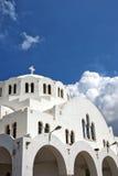 Fira Orthodox Metropolitan cathedral 01. The Orthodox Metropolitan cathedral situated in the capital town of fira on the greek island of santorini Stock Photos