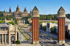 Fira and Palau Nacional in Montjuic hill, in Barcelona, Spain Stock Image