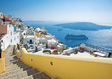 Fira panorama with caldera view Stock Photography