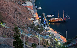 Fira port night scene at Santorini, Greece Royalty Free Stock Photography